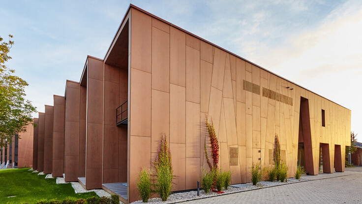 Offices and factory of the Brunner family business in Eggenfelden, Germany cladded with Rockpanel Natural facade cladding